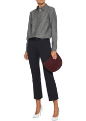 Theory Woman Cotton-blend Piqué Kick-flare Pants Black