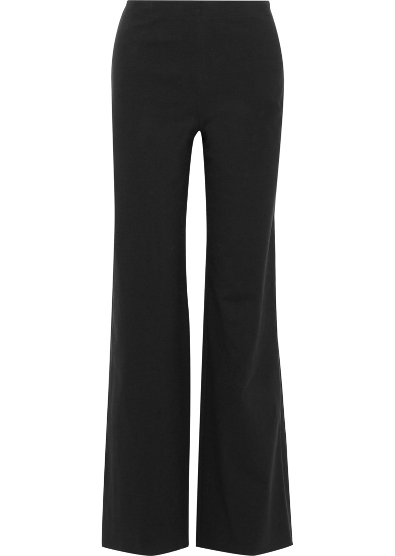 Theory Woman Cotton-blend Ponte Wide-leg Pants Black