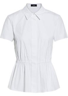 Theory Woman Cotton-blend Poplin Peplum Top White