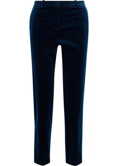Theory Woman Cotton-blend Velvet Slim-leg Pants Navy