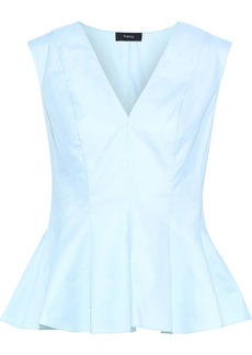 Theory Woman Cotton-twill Peplum Top Sky Blue