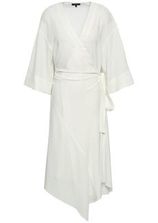 Theory Woman Crepe Midi Wrap Dress Ivory