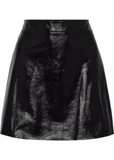 Theory Woman Crinkled Patent-leather Mini Skirt Black