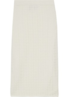 Theory Woman Crocheted Cotton-blend Pencil Skirt Ivory