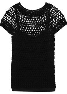 Theory Woman Crocheted Cotton-blend T-shirt Black