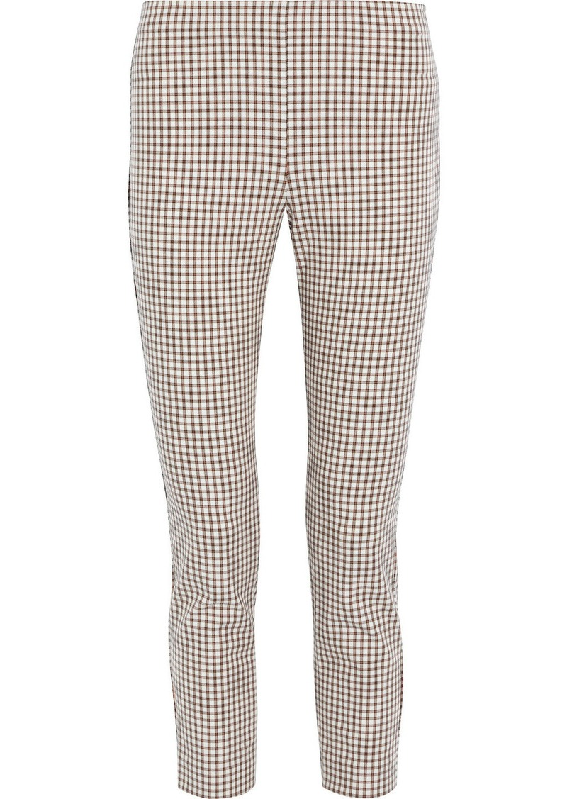 Theory Woman Cropped Checked Cotton-blend Skinny Pants White