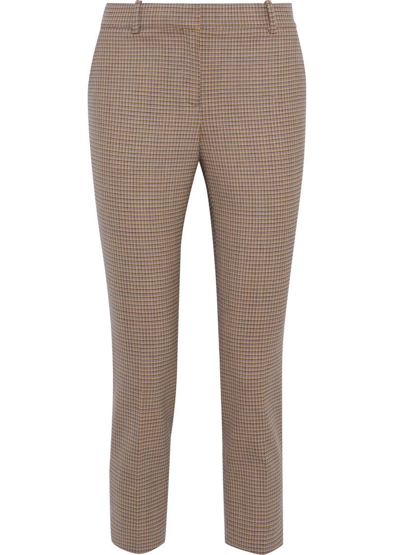 Theory Woman Cropped Checked Wool-blend Slim-leg Pants Yellow