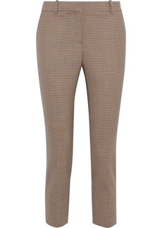 Theory Woman Cropped Checked Wool-blend Slim-leg Pants Yellow