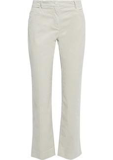 Theory Woman Cropped Cotton-blend Corduroy Straight-leg Pants Cream