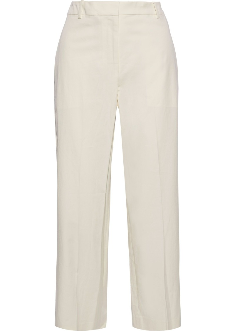 Theory Woman Cropped Cotton-blend Straight-leg Pants White
