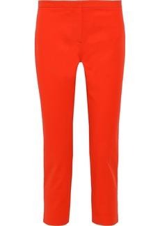 Theory Woman Cropped Cotton-blend Twill Slim-leg Pants Bright Orange