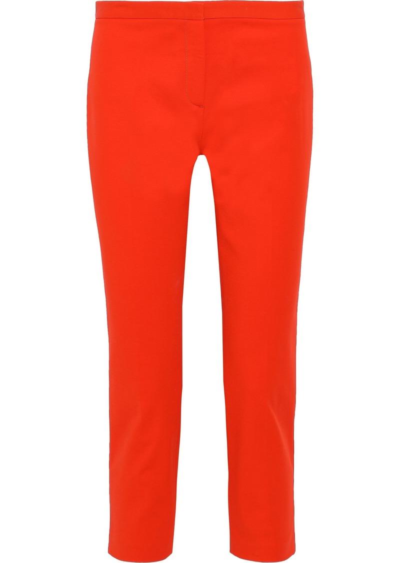 Theory Woman Cropped Cotton-blend Cady Slim-leg Pants Bright Orange
