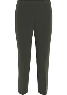 Theory Woman Cropped Crepe Slim-leg Pants Army Green
