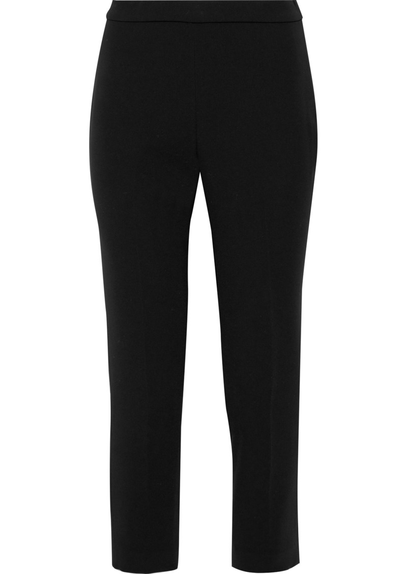 Theory Woman Cropped Crepe Tapered Pants Black