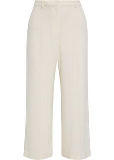 Theory Woman Cropped Crepe Wide-leg Pants Cream