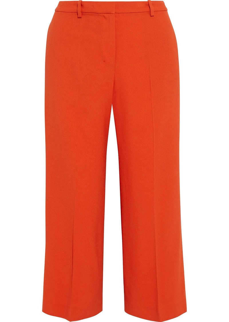 Theory Woman Cropped Crepe Wide-leg Pants Bright Orange