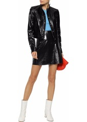 Theory Woman Cropped Crinkled Patent-leather Jacket Black