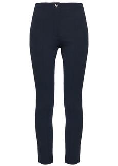 Theory Woman Cropped Jacquard-knit Skinny Pants Navy