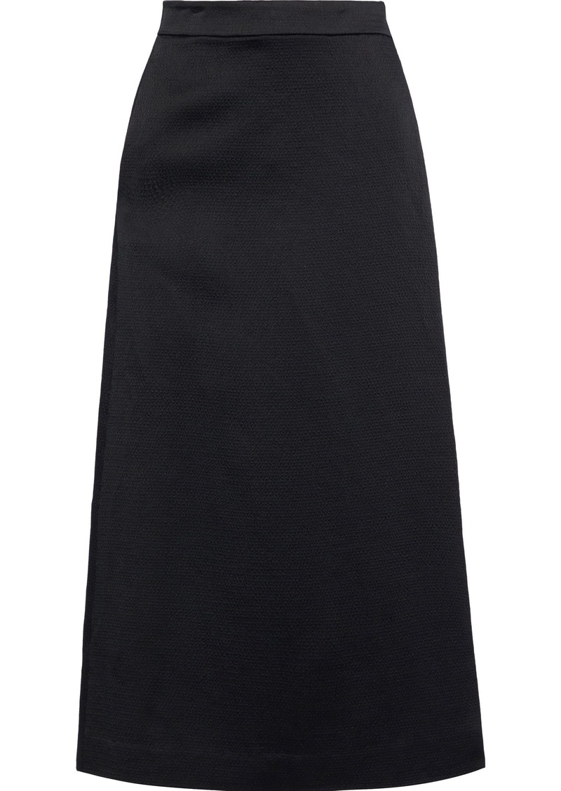 Theory Woman Cropped Wrap-effect Hammered Satin Wide-leg Pants Black