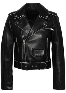 Theory Woman Cropped Leather Biker Jacket Black