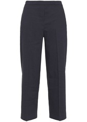 Theory Woman Cropped Linen-blend Wide-leg Pants Midnight Blue