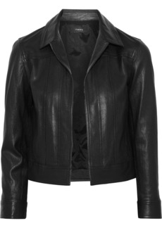 Theory Woman Cropped Paneled Leather Jacket Black