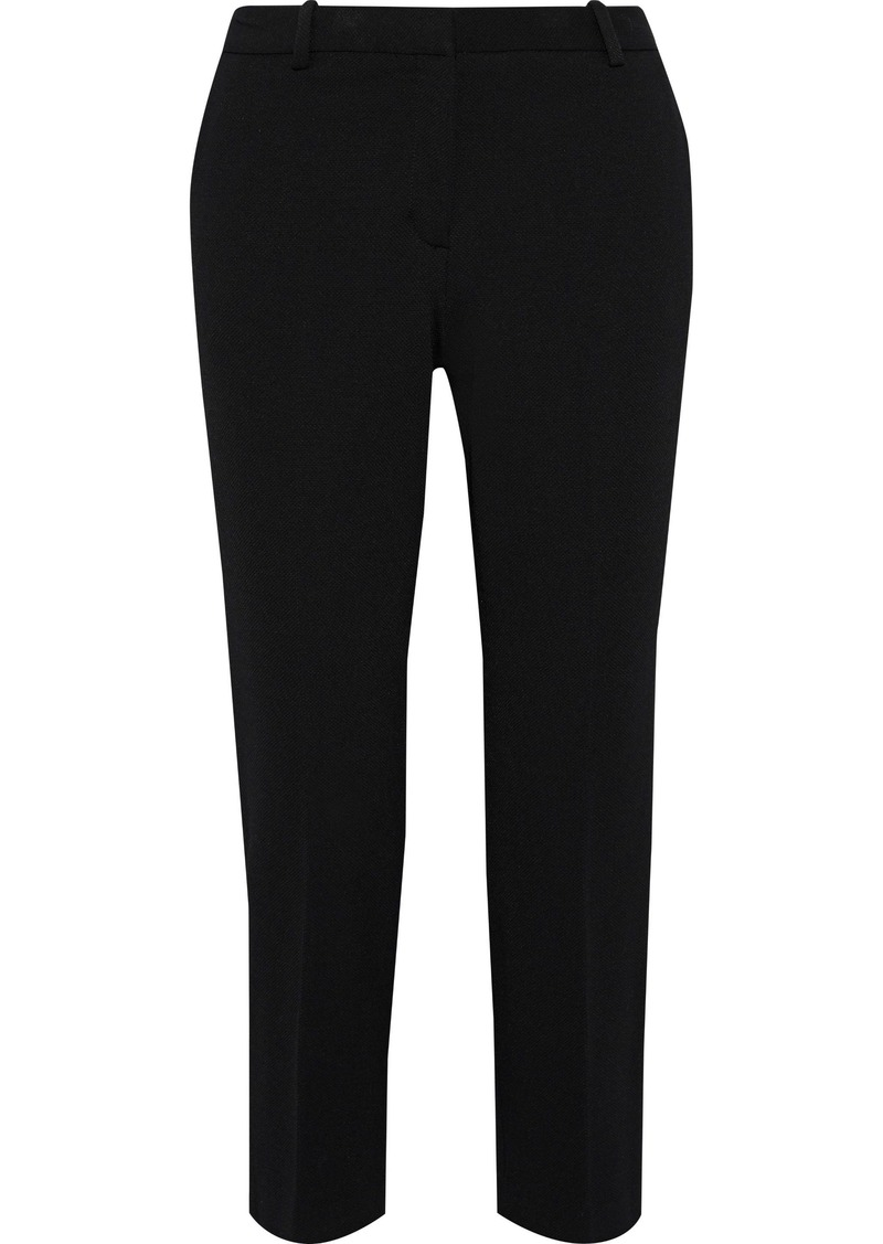 Theory Woman Cropped Piqué Slim-leg Pants Black