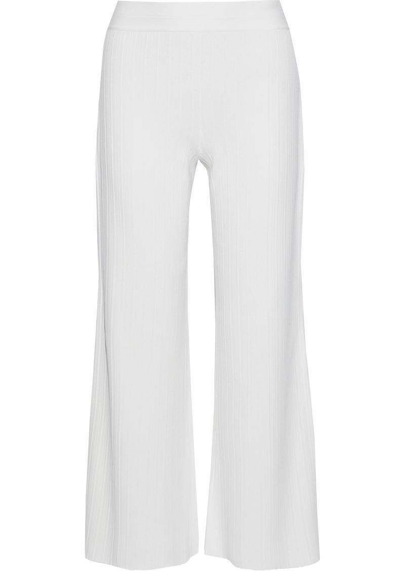 Theory Woman Cropped Ribbed-knit Wide-leg Pants White
