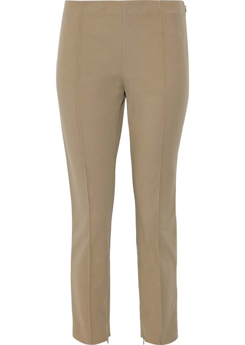Theory Woman Cropped Stretch-cotton Twill Skinny-leg Pants Sage Green
