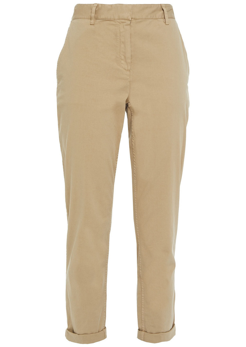 Theory Woman Cropped Stretch-cotton Twill Slim-leg Pants Sand