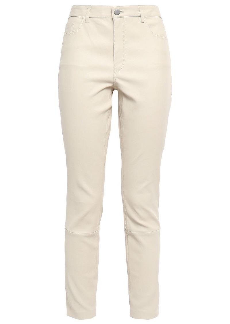 Theory Woman Bristol Stretch-leather Skinny Pants Cream