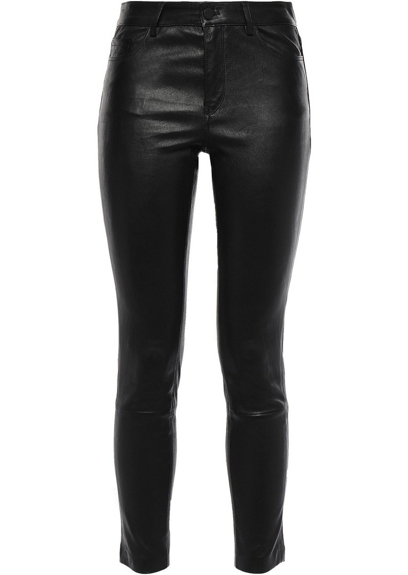 Theory Woman Cropped Stretch-leather Skinny Pants Black