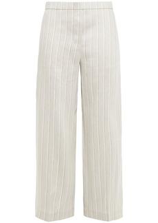 Theory Woman Cropped Striped Linen-blend Twill Wide-leg Pants Light Gray