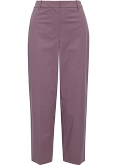 Theory Woman Cropped Washed Stretch-cotton Twill Straight-leg Pants Lavender