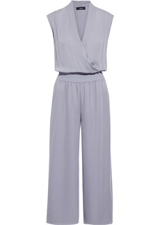 Theory Woman Gathered Silk-georgette Wide-leg Jumpsuit Lavender