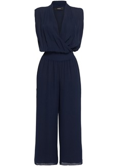 Theory Woman Cropped Wrap-effect Silk Crepe De Chine Wide-leg Jumpsuit Navy