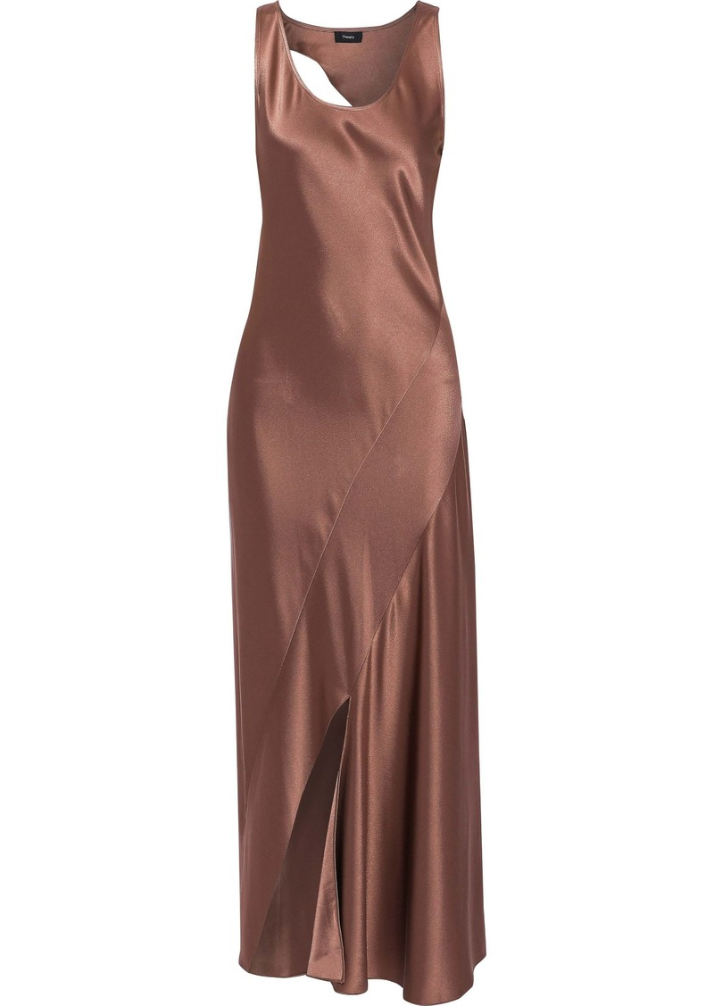 Theory Woman Cutout Satin Maxi Dress Antique Rose