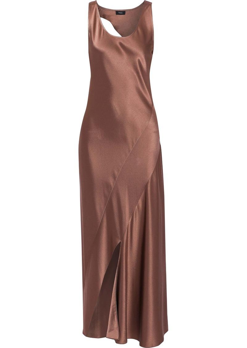 Theory Woman Cutout Satin Maxi Dress Antique Rose