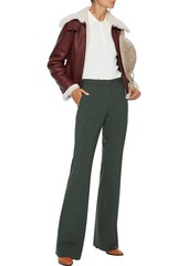 Theory Woman Mélange Wool-blend Flared Pants Red