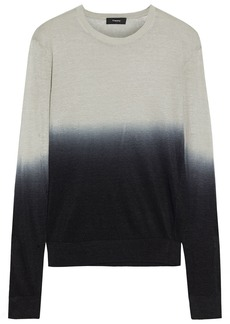 Theory Woman Dégradé Linen-blend Sweater Light Gray