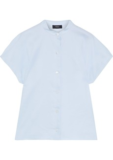 Theory Woman Cotton-poplin Shirt Sky Blue