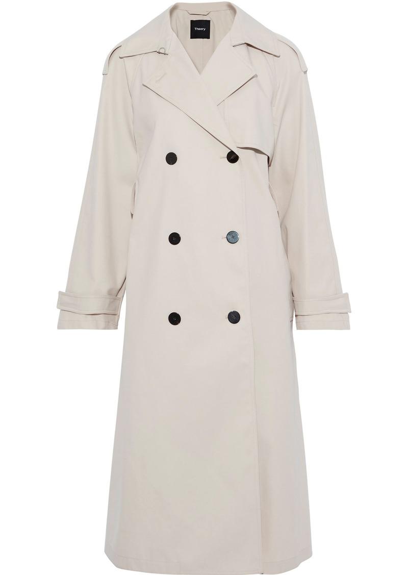 Theory Woman Gabardine Trench Coat Ivory