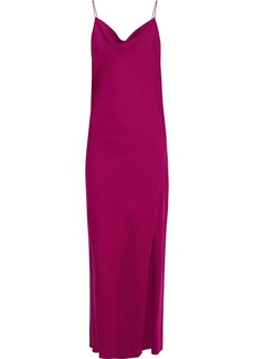 Theory Woman Draped Silk-charmeuse Maxi Slip Dress Magenta