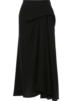 Theory Woman Draped Silk-georgette Midi Skirt Black