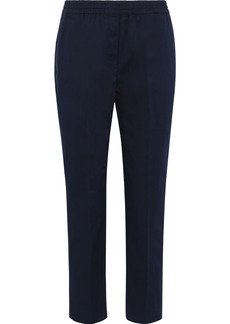 Theory Woman Cropped Stretch-cotton Twill Slim-leg Pants Midnight Blue