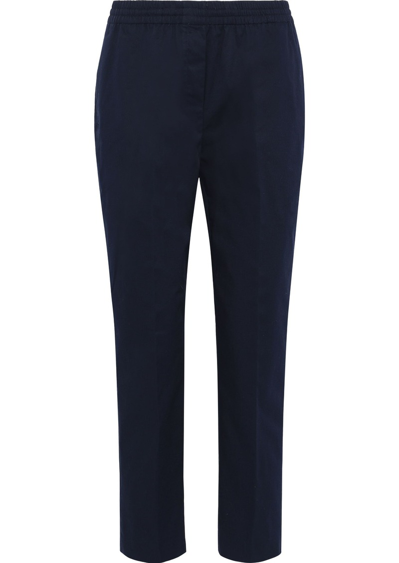 Theory Woman Easy Cropped Stretch-cotton Twill Slim-leg Pants Midnight Blue