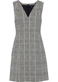 Theory Woman Easy V Prince Of Wales Checked Wool-blend Mini Dress Anthracite
