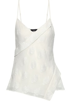 Theory Woman Embroidered Silk-blend Chiffon Camisole White