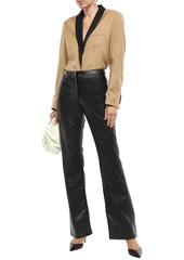 Theory Woman Faux Leather Flared Pants Black