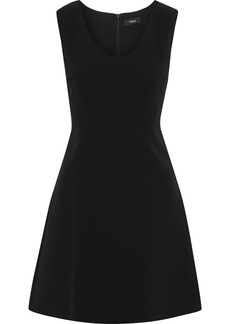 Theory Woman Flared Crepe Mini Dress Black